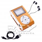 Reproductor MP3 CLIP Pantalla LCD radio FM NARANJA + Auricular+C