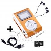 Reproductor MP3 CLIP Pantalla LCD radio FM NARANJA + Auricular+U