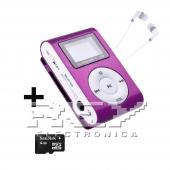 Reproductor MP3 CLIP Pantalla LCD radio FM MORADO + 4Gb MicroSD