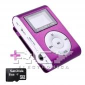 Reproductor MP3 CLIP Pantalla LCD radio FM MORADO + 8Gb MicroSD