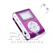 Reproductor MP3 CLIP Pantalla LCD radio FM MORADO + Auricular