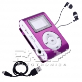 Reproductor MP3 CLIP Pantalla LCD radio FM MORADO + Auricular+U