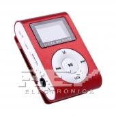 Reproductor MP3 CLIP Pantalla LCD radio FM ROJO