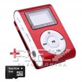 Reproductor MP3 CLIP Pantalla LCD radio FM ROJO  + 4Gb MicroSD