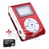 Reproductor MP3 CLIP Pantalla LCD radio FM ROJO + 8Gb MicroSD