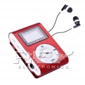 Reproductor MP3 CLIP Pantalla LCD radio FM ROJO + Auricular