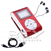Reproductor MP3 CLIP Pantalla LCD radio FM ROJO + Auricular+C