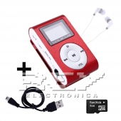 Reproductor MP3 CLIP Pantalla LCD radio FM ROJO + Auricular+U