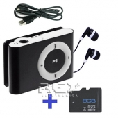 Reproductor Mp3 LCD NEGRO + USB + Auricular + Micro SD 8 Gb